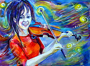 Concert Painting Originals - Lindsey Stirling Magic by Anna  Duyunova