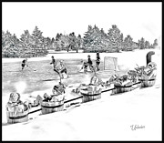 Youth Hockey Art - Line Change by Elizabeth Urlacher