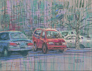 Parking Drawings - Line of Cars by Donald Maier
