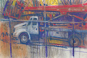 Line Pastels Originals - Line Truck by Donald Maier