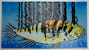 Ocean  Glass Art Originals - Linear Lion Fish by Michelle Rial