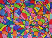 Jennifer Vazquez Metal Prints - Lines colorful abstract drawing Metal Print by Jennifer Vazquez
