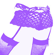 Pussy Framed Prints - Lingerie III Purple Framed Print by John Silver