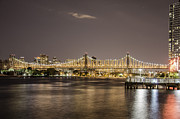 Bay Bridge Mixed Media Metal Prints - Lining lights Metal Print by Alex Chang