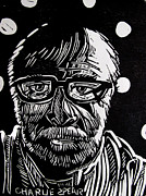 Self Portrait Drawings - Lino Cut Charlie Spear by Charlie Spear