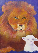 Lion And Lamb Prints - Lion and Lamb Print by Jenny Frampton