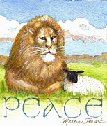 Lion And Lamb Posters - Lion and Lamb - Peace  Poster by Marlene  Schwartz