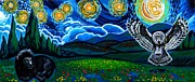 Genevieve Paintings - Lion And Owl On A Starry Night by Genevieve Esson