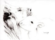Lion Drawings Originals - Lion and the Lamb by Linda Ginn