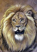 Amate Bark Paper Prints - Lion Print by Anne Shoemaker-Magdaleno