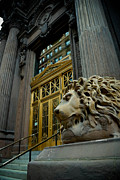 Stairs Metal Prints - Lion at Dollar Bank Building Pittsburgh Metal Print by Amy Cicconi