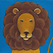 Aqua Posters - Lion Poster by Christy Beckwith