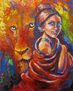 Father Paintings - Lion covering by Cindy Elsharouni