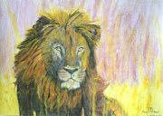 Children Action Paintings - Lion by Dylan Williams
