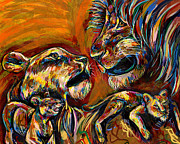 Beasts Paintings - Lion Family by Lovejoy Creations