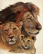 African Lion Painting Framed Prints - Lion Family Portrait Framed Print by Suzanne Schaefer