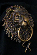 Door Sculpture Reliefs - Lion Head Door Knocker by Karl Sanders