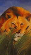 Lavander Paintings - Lion in Lavender by MaryEllen Frazee