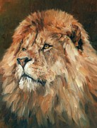 Lion Painting Posters - Lion King Poster by David Stribbling