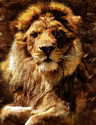 Cat Mixed Media Prints - Lion King Of Beasts Print by Zeana Romanovna