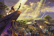Disney Framed Prints - Lion King Framed Print by Thomas Kinkade