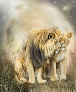 Lions Mixed Media Prints - Lion Kiss Print by Carol Cavalaris