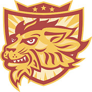 Lion Posters - Lion Mascot Head Shield  Poster by Aloysius Patrimonio