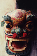 Hand Crafted Prints - Lion Mask for Chinese New Year Print by Anna Lisa Yoder