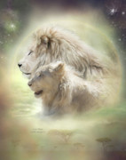 Lions Mixed Media Prints - Lion Moon Print by Carol Cavalaris