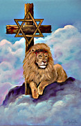 Menorah Mixed Media Prints - Lion of Judah at the Cross Print by Nadine and Bob Johnston