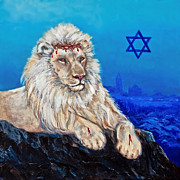 Jerusalem Painting Posters - Lion of Judah before Jeruselum Poster by Nadine and Bob Johnston