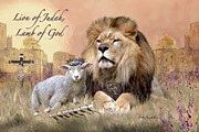 Christian Artwork Painting Acrylic Prints - Lion of Judah Lamb of God II Acrylic Print by Dale Kunkel