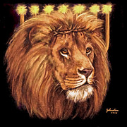 Religious Art Mixed Media Originals - Lion of Judah - Menorah by Nadine and Bob Johnston