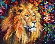Lion Oil Paintings - Lion of Zion by Leonid Afremov