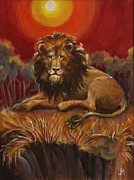 Looking At Viewer Posters - Lion on a Cliff Poster by Jan Mecklenburg