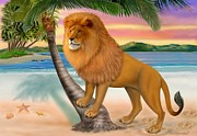 Humorous Greeting Cards Digital Art Prints - Lion On The Beach Print by Glenn Holbrook
