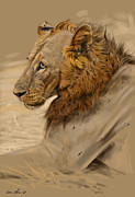 Cat Portrait Posters - Lion Portrait Poster by Aaron Blaise