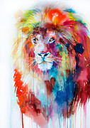 Animal Mixed Media Metal Prints - Lion Metal Print by Slaveika Aladjova