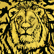 Poser Prints - Lion Stylised Pop Art Drawing Potrait Poser Print by Kim Wang