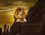 Prayer Digital Art Posters - Lion Watchman Poster by Constance Woods