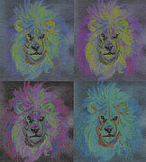 C.s Lewis Digital Art - Lion x 4 Color  by jrr by First Star Art