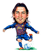 Messi Painting Framed Prints - Lionel Messi Framed Print by Art