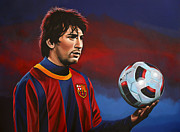 Athlete Painting Metal Prints - Lionel Messi  Metal Print by Paul  Meijering