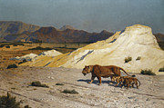Rock Formation Paintings - Lioness and Cubs by Jean Leon Gerome