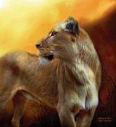 Animal Art Print Mixed Media Posters - Lioness Is Near Poster by Carol Cavalaris