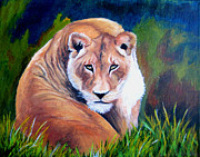 Lioness Mixed Media Posters - Lioness Poster by Maris Sherwood
