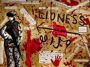 Feminist Mixed Media - Lioness by Michelle Wilmot