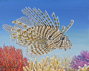 Lionfish Paintings - Lionfish and Coral by Jane Girardot