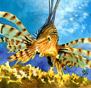 Exotic Fish Paintings - Lionfish by Ken Meyer jr