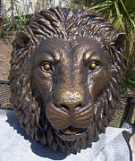 Animals Sculptures - Lionhead Tuscanbronze 3X4Ft by Chris Dixon